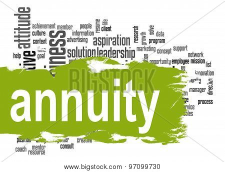 Annuity Word Cloud With Green Banner