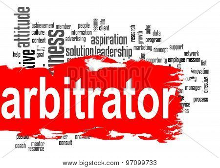 Arbitrator Word Cloud With Red Banner