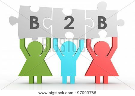 B2B - Business To Business Puzzle In A Line