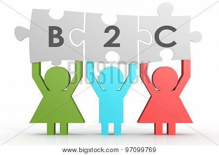B2C - Business To Consumer Puzzle In A Line