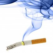 stock photo of ashes  - Cigarette with ash and smoke isolated over the white background - JPG