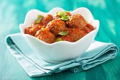 stock photo of meatball  - meatballs with tomato sauce in bowl - JPG