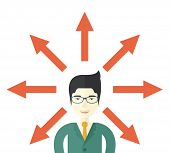 foto of confuse  - A japanese businessman being confused with too many directions - JPG