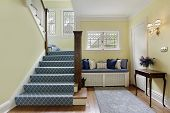 picture of entryway  - Entry area of luxury home with yellow walls - JPG
