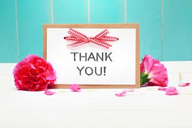 picture of carnations  - Thank You message card with carnations on pastel blue background - JPG