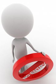 stock photo of no entry  - 3d man holding no entry  - JPG