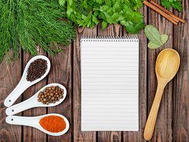 foto of recipe card  - Spices recipe background - JPG