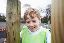 image of physical education  - Boy On Climbing Frame In School Physical Education Class - JPG