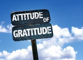 stock photo of politeness  - Attitude of Gratitude sign with sky background - JPG