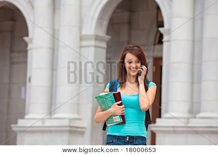 Female student on cell phone