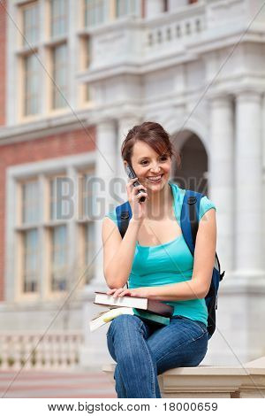 Female student talking on cell phone