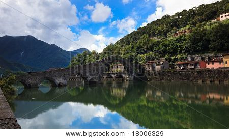The Maddalena's Or Devil's Bridge; Borgo A Mozzano, Italy.