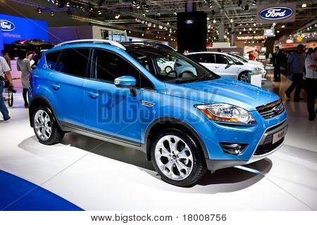 Moscow, Russia - August 25:  Blue Jeep Ford Kuga On Display At Moscow International Exhibition Inter