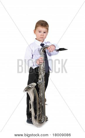 little boy and the big saxophone