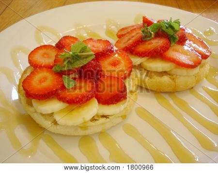 Strawberry And Banana On Muffin