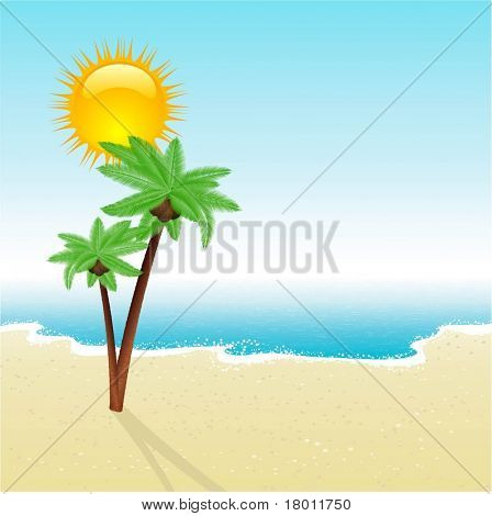 Tropical beach scene with detailed palm trees
