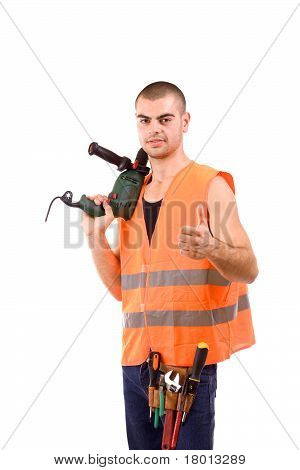 Young Man Whit Drillmachine