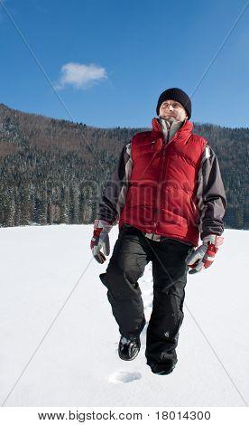 Man Walking On The Snow