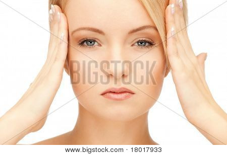 bright picture of unhappy woman over white