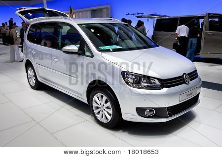 Moscow, Russia - August 25:  Grey Jeep Car Volkswagen Touran  On Display At Moscow International Exh