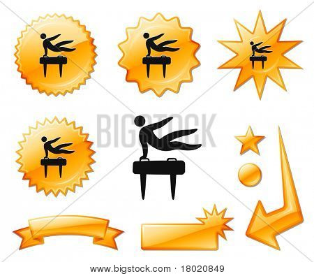 Pommel Horse Icon on Orange Burst Banners and Medals Original Vector Illustration