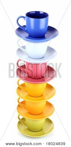 Beautiful color cups on a white background