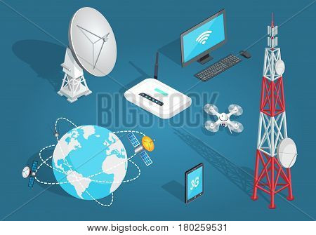 poster of Set of wireless connection on blue background. Vector illustration of satellites around planet, tower with dishes, white drone, laptop with wi-fi, smartphone with 3G, white dish antenna, wi-fi router.