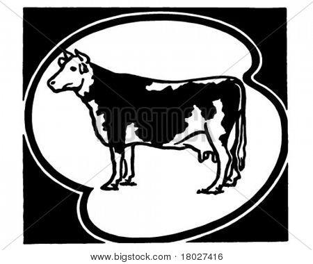 Holstein Cow - Retro Ad Art Illustration