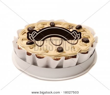Beautiful whole cake in paper box with place for text on top.