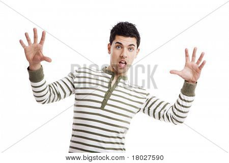 Casual young man with a astonish expression against a white background