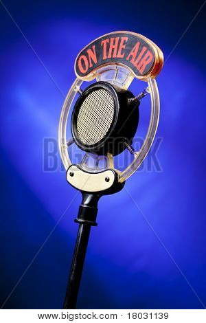 Photo Of Radio Microphone On Blue Background