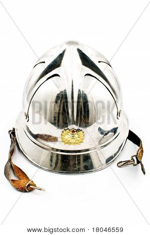 Old Fireman's Metallic Helmet