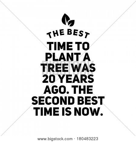 Quote on white - The best time to plant a tree was 20 years ago. The second best time is now.