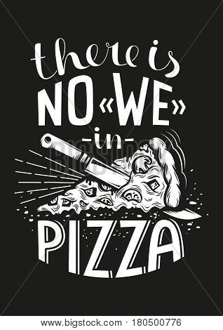 Pizza lettering in retro style on a black background. Vector illustration.