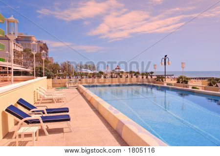 Swimming Pool In The Famous Italian Tourist Resort