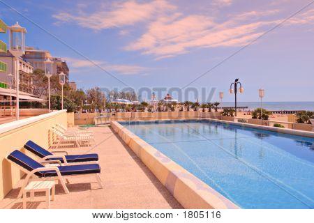 Swimming Pool In The Famous Italian Tourist Resort