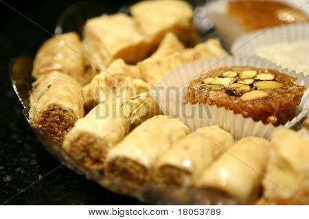 An tray of baklava, middle eastern/mediterranean dessert