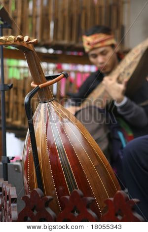 A traditional Malay musical instrument known as 'gambus' resting on it's stand whilst a musician plays on his traditional Sarawak known as the ' sapeh '