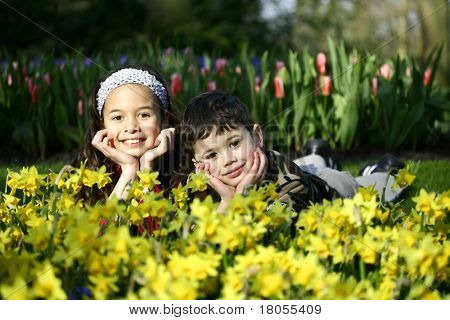 A boy and his sister enjoying the carpet of yellow daffodils. Concept: Family bond