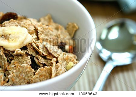 A bowl of bran flakes with raisins and flaked dry bananas.