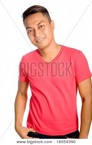 Young male Asian in casual red top isolated