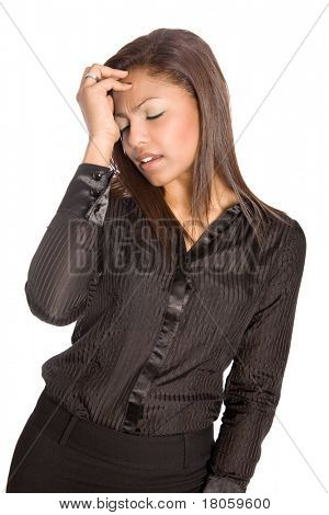 Asian businesswoman suffers a headache or signs of distress and upset, isolated.