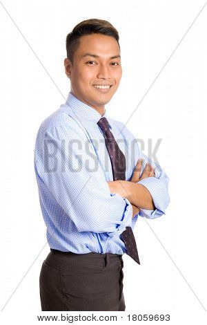 Young Asian businessman in blue shirt, isolated