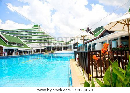 View of vast swimming pool against clear blue sky in tropical Phuket, Thailand