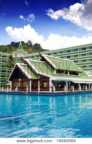 Beautiful Thai architecture with traditional roof design of hotel resort in Phuket.