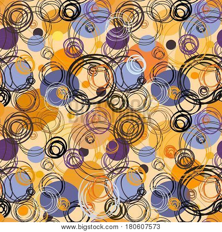 Orange blue geometric abstract circles seamless pattern . Black orange circle hand drawn doodles. For bedding textile fabric, packaging wrapping or wallpaper Vector illustration stock vector.