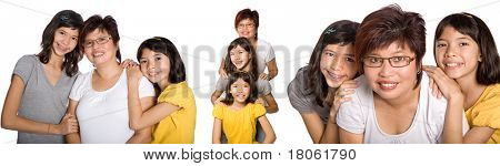 Various portraits of Chinese woman with two beautiful daughter from mix parentage