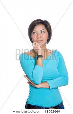 Young Asian woman appearing pensive, isolated