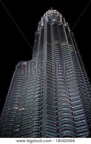Night scene of the majestic Petronas twin tower Kuala Lumpur, Malaysia.
