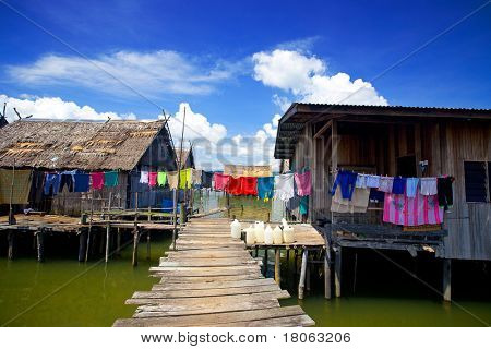 Veiw of wooden homes in a water's village near Tuaran, Sabah Malaysia.